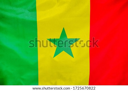 Fabric texture flag of Senegal. Flag of Senegal waving in the wind. Senegal flag is depicted on a sports cloth fabric with many folds. Sport team banner. #1725670822
