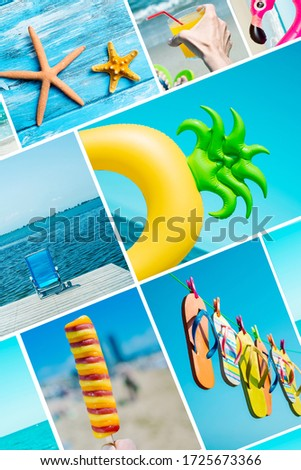 a collage of pictures of different summer items, such as some starfishes, a pineapple-shaped swim ring, some flip-flops hanging on a clothesline, a deck chair on a deck, or an ice pop on the beach