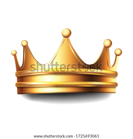 3d realistic vector golden crown. Isolated on white background icon illustration.