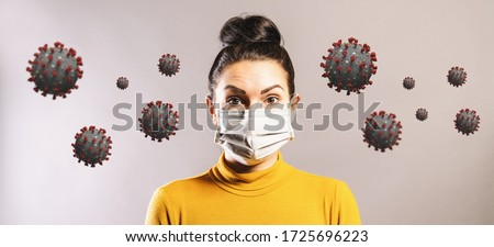 Woman wearing anti virus protection mask to protect from corona COVID-19 and SARS cov 2 infection Royalty-Free Stock Photo #1725696223