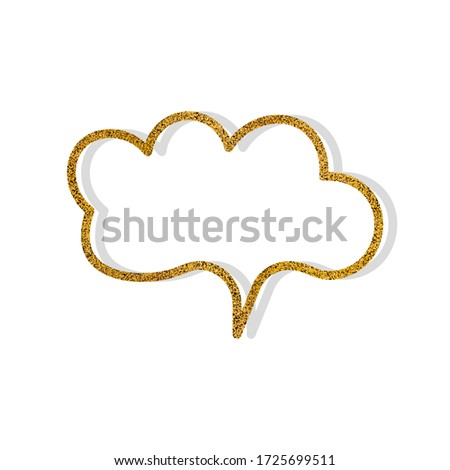 Vector speech bubble with golden glitter effect. Isolated glowing gold banners on white background. Cartoon illustration. Template frame.  Hand draw style, dialog clouds. #1725699511