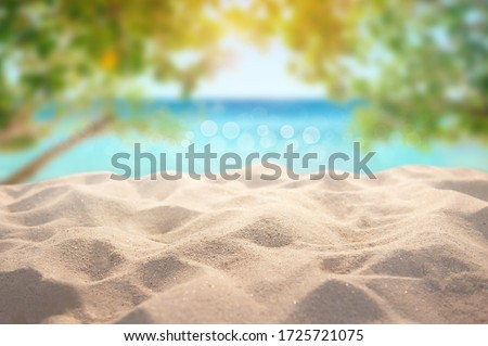 Beautiful Summer exotic sandy beach with blur tree and sea on background Royalty-Free Stock Photo #1725721075
