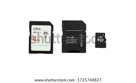 SD card and Micro SD card with clipping path on white background. Isolation.