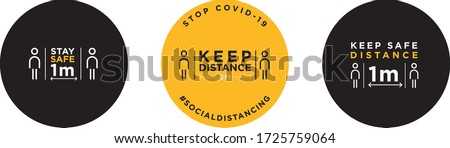 Keep distance stop Covid-19 signage icon #1725759064