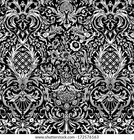 Black Vintage Detailed Lace Damask Pattern