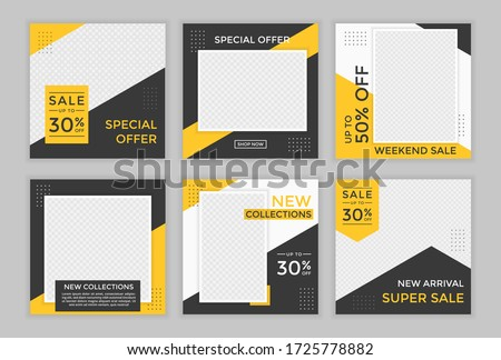 Editable template post for social media ad. web banner ads for promotion design with yellow and black color.  #1725778882