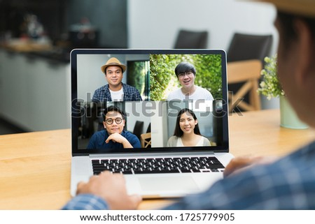 Asian business people video conference online on laptop. Meeting businessman and woman discussion corporate work from home. #1725779905