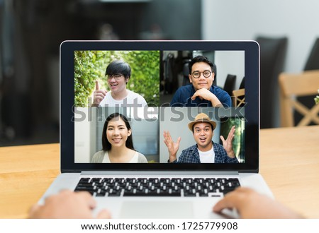 Asian business people video conference online on laptop. Meeting businessman and woman discussion corporate work from home. #1725779908