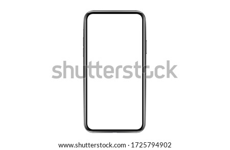 smartphone frameless with a blank screen lying on a flat surface. High Resolution Vector  iPhone 11 Pro Max with blank white screen for Infographic Global Business  web site design app, model  iPhon #1725794902