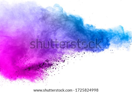 Freeze motion of colored powder explosions isolated on white background. #1725824998