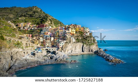 Manarola cityscape, Liguria, italy, Cinque terre Royalty-Free Stock Photo #1725827188