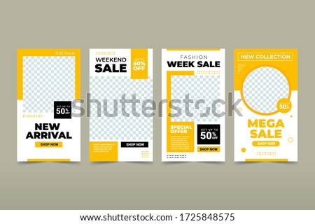 Set of Editable banner instagram story template. Black and yellow background color with stripe line shape. Suitable for social media stories post and web mobile ads. Vector with photo college Royalty-Free Stock Photo #1725848575