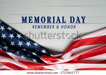 USA Memorial day and Independence day concept, United States of America flag on wooden background #1725865777