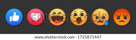 High quality vector round yellow cartoon bubble emoticons social media Facebook chat comment reactions, icons template face tear, smile, sad, love, like, Lol, laughter emoji character message #1725871447