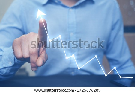 Businessman pointing arrow graph growing corporate. Development  to success and growing growth concept.  Start-up #1725876289