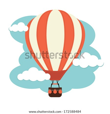 Hot Air Balloon and Clouds Royalty-Free Stock Photo #172588484
