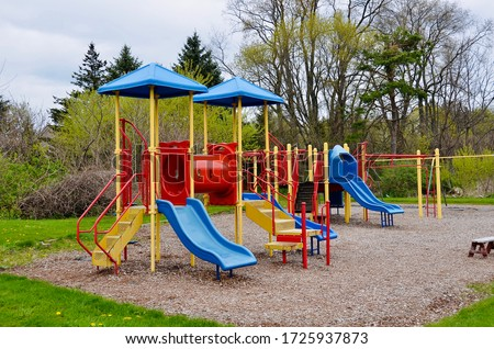 Children playground, while nobody due to  Covid- 19 pandemic currently (early May 2020) in New York State. Royalty-Free Stock Photo #1725937873