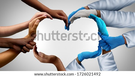 Community health care workers and frontline medical group and patients teamwork as a group of doctors and nurses joining together as physicians unified for patient care in a 3D illustration style.