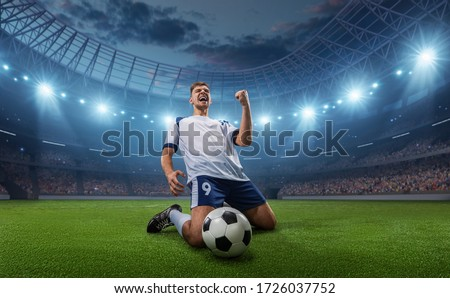 Soccer player celebrates a victory on the professional stadium . Stadium and crowd are made in 3D. Royalty-Free Stock Photo #1726037752