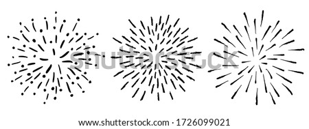 Vector Doodle Sunrays or Starbursts Set. Hand Drawn Circle Design Black and White Elements. #1726099021