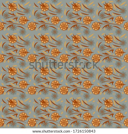 seamless pattern with flowers and leaves hohloma style #1726150843