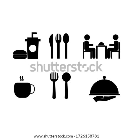 a set of food and beverage vector graphics illustrations, great to use for symbols of restaurants, cafes, canteens and other places to eat #1726158781