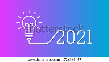Creative light bulb idea with 2021 new year design, 2021 creativity inspiration concepts with a light-bulb on the gradient background color. the solution, planning ideas.Business, glowing #1726161457