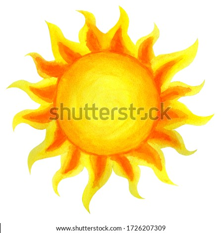 Sun cartoon watercolor. Children's illustration of the sun drawn by hand. isolated on a white background. Sunrise sunset.
