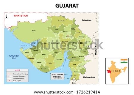 Gujurat map. Political and administrative map of Gujurat with districts name. Showing International and State boundary and district boundary of Gujurat. Vector illustration of vector districts map. Royalty-Free Stock Photo #1726219414
