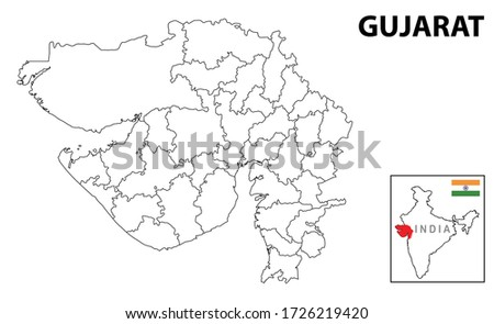 Gujurat map. Political and administrative map of Gujurat with districts name. Showing International and State boundary and district boundary of Gujurat. Vector illustration of vector districts map. Royalty-Free Stock Photo #1726219420