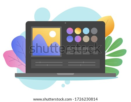 Photo editor app online image software vector on laptop pc or computer artist studio picture creating on digital drawing program flat cartoon dark on colorful background