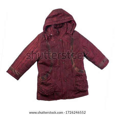 female dark red coat with a hood Isolated on a white background. autumn women's coat not wet from the rain top view #1726246552
