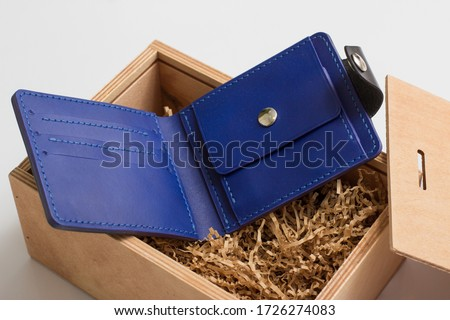 Men's wallet handmade blue leather   Royalty-Free Stock Photo #1726274083