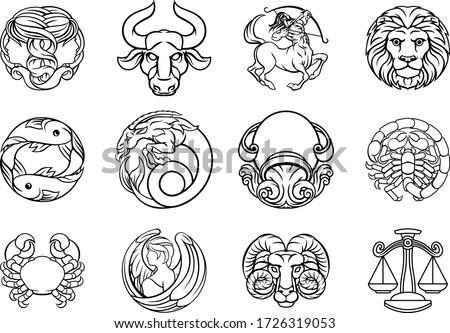 Horoscope zodiac astrology star signs symbols icon set Royalty-Free Stock Photo #1726319053