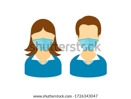 Man and woman wearing medical mask on face to prevent Covid-19 illustration. People with coronavirus mask clip art. Face with protective mask icon. Coronavirus icon. Coronavirus COVID-19 disease icon