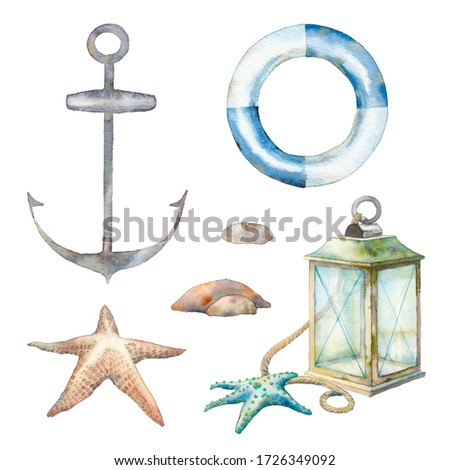 Nautical decor set: lamp, sea starfish, anchor, stones. Isolated illustrations on white background