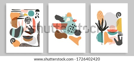 Modern Poster Art Prints Of 3. Abstract Wall Art Contemporary Style.  Digital Interior Art with Abstract Shapes. Abstract Poster Triptych. Vector EPS 10. #1726402420