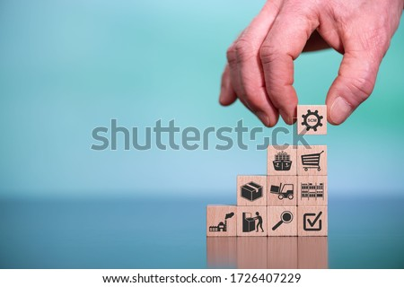 Concept of SCM with icons on wooden cubes #1726407229