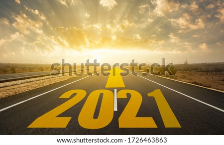 The word 2021 written on highway road. Concept for new year 2021 #1726463863