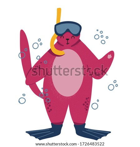 Fat cute cat have a rest in swimming pool with cocktail. Hand drawn character. Happy calm cat on rubber ring in water flat clipart. Beach party.