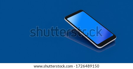 Modern Smartphone with reflection on the screen  lies on a dark blue surface in perspective view. Template for infographics or presentation UI design