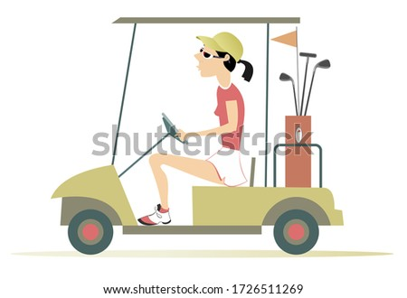 Golfer woman in the golf cart illustration. Pretty young woman is going to play golf in the golf cart isolated on white