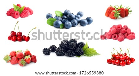 Set of different ripe berries on white background. Banner design Royalty-Free Stock Photo #1726559380