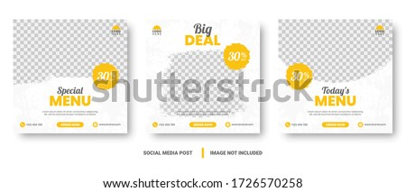 Food menu banner social media post. Editable social media templates for promotions on the Food menu. Set of social media story and post frames. Layout design for marketing on social media. #1726570258