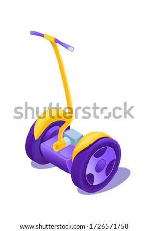 Eco transport cartoon illustration. Electric scooter isometric clip art. Self-balance transporter. Environment friendly vehicle isolated design element. Outdoor activity technology. Raster copy