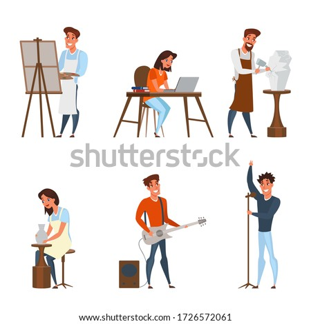Creative jobs, careers flat illustrations set. Artist, writer, sculptor, gonchar, musician, singer characters pack. Artistic hobby, occupation isolated cliparts. Writing, painting process. Raster copy