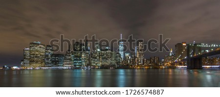Panoramic view of New York's skyline at night