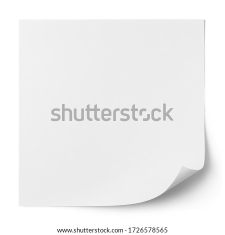 Blank square paper sheet with curled corner, isolated on white background Royalty-Free Stock Photo #1726578565