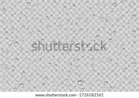 Water droplets on a transparent glass. Rain drops on window. #1726582561