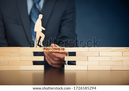 Post-covid-19 era concept. New phase and opportunity for humankind and individual persons after end of covid-19 pandemic. Royalty-Free Stock Photo #1726585294